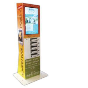 Borne de recharge mobile digitale à Compiègne. Panneau en led